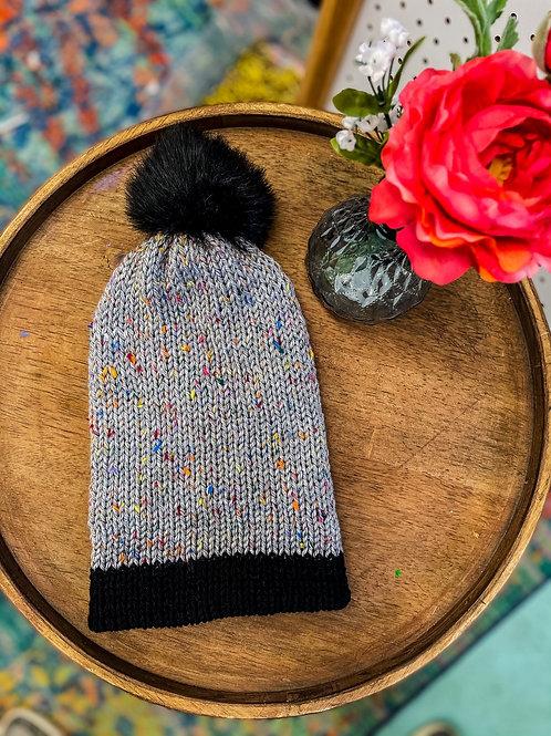 Knit Beanie - Confetti Grey