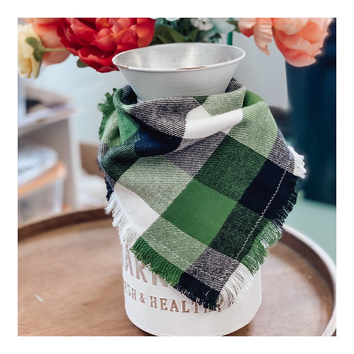 Navy Green Check Button-On Flannel Fringed Bandana