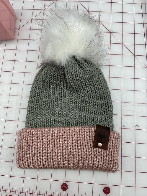 Knit Beanie - Baby Pink and Grey Stripe