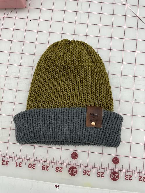 Knit Beanie - Olive Charcoal Stripe
