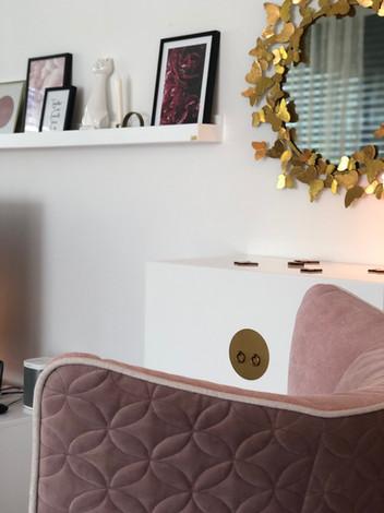 Details - Wohnzimmer in Blush, Weiss & Gold