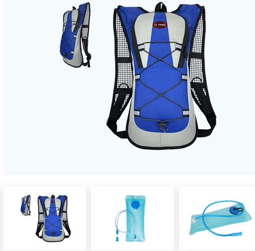 2L HYDRATION BACKPACK WITH WATER BLADDER BLUE