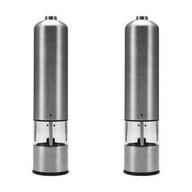Stainless Steel Electric Salt & Pepper Grinders - 2 Pack