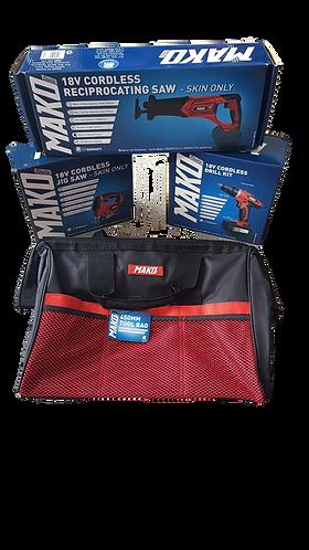 Mako 18v Cordless Tool Pack - Drill, Jigsaw, Reciprocating Saw
