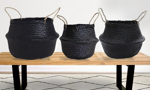 Seagrass Belly Baskets - Set of 3 - Black