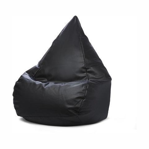 Faux Leather Bean Bag - Black