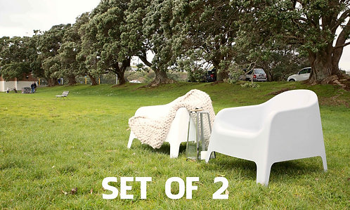 Wide Plastic Tub Chairs - Pair