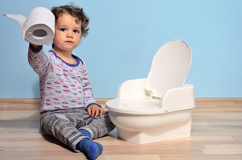 Cute kid potty training for pee and poo.