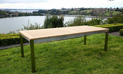 Teak and Stainless Steel Extension Dining Table