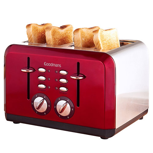 L&C 4 Slice Toaster Red