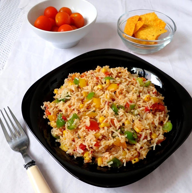 Rice with salsa
