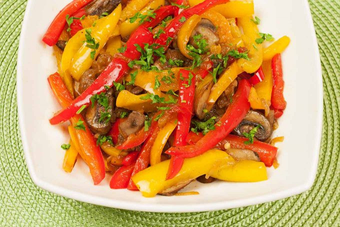 Sauteed peppers, onions, and mushrooms