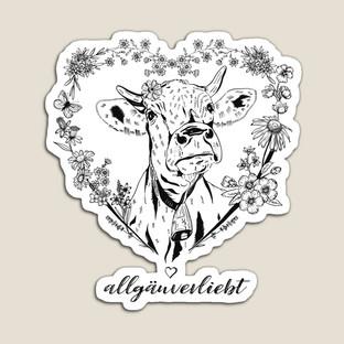 Kuh im Blumenherz