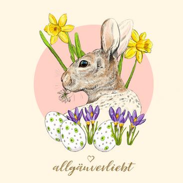 Wildhase mit Blumen zu Ostern