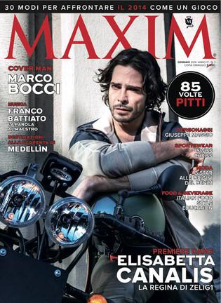MAXIM Italia January 2014 issue photo Angela Improta grooming Elisa Rampi talent Marco Bocci