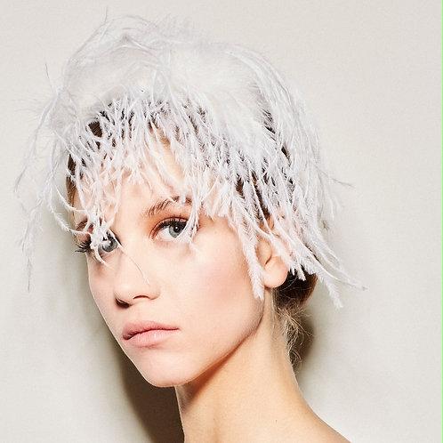 ALCA Ostrich Feather Headband White