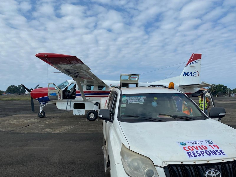 MAF flight in Liberia, flying a medical team to test a suspected case of Covid19 in Zwedru
