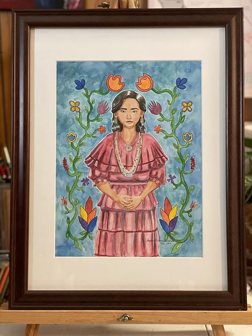 Potawatomi Woman and Her Flowers | Medium Watercolo