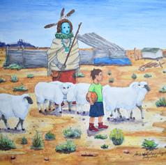 Shimasani (Grandmother) said to let the sheep out, before playing