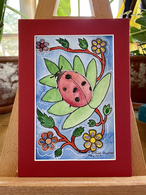 Woodland Flower Lady Bug | Watercolor Painting