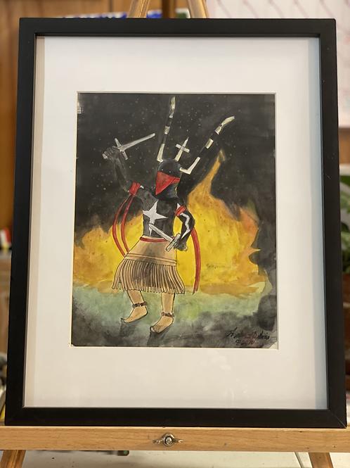 Oklahoma Apache Dancer | Medium Watercolor