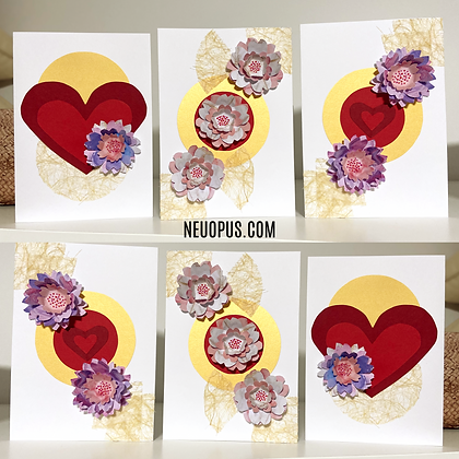 HEARTS AND FLOWERS GREETING CARD TRIO