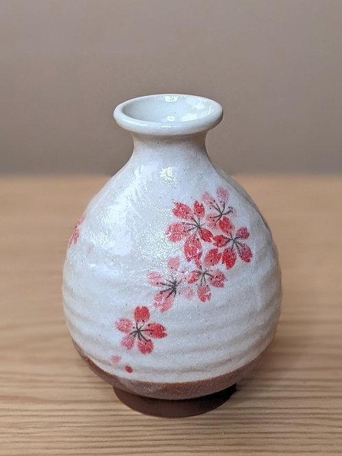 Ceramic sake bottle sakura