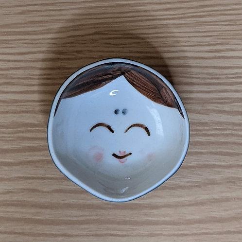 Ceramic sake cup girl&demon blue