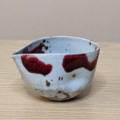 Ceramic sake bottle red&light grey