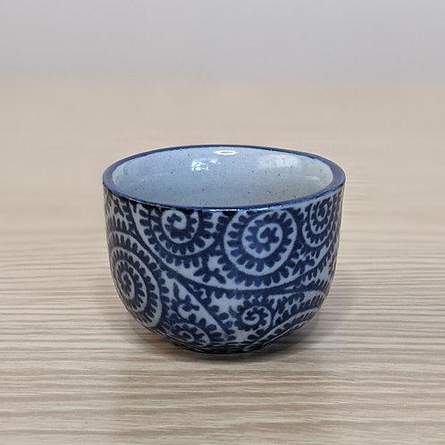 Ceramic sake cup w&b traditional design