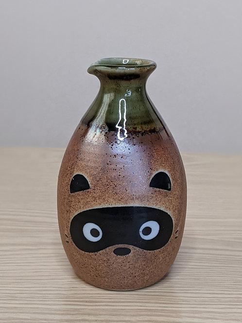 Ceramic sake bottle tanuki