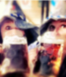 Ladies with Bavarian Hat drinking beer