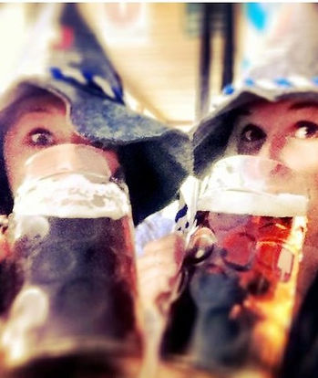 Ladies with Bavarian Hat drinking beer