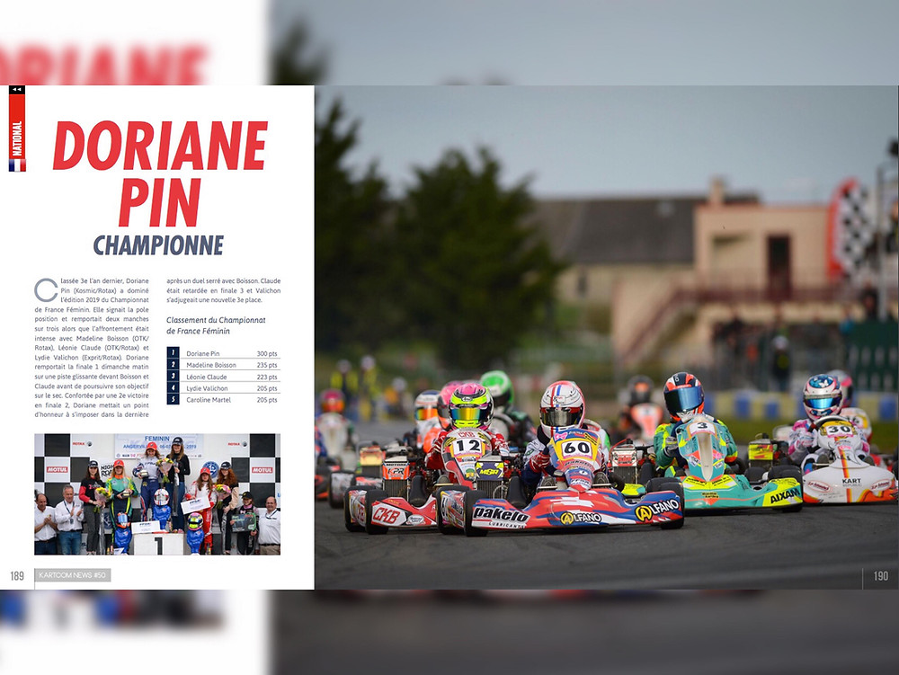 Doriane Pin Championne de France de Karting 2019 - Académie 321 Perform