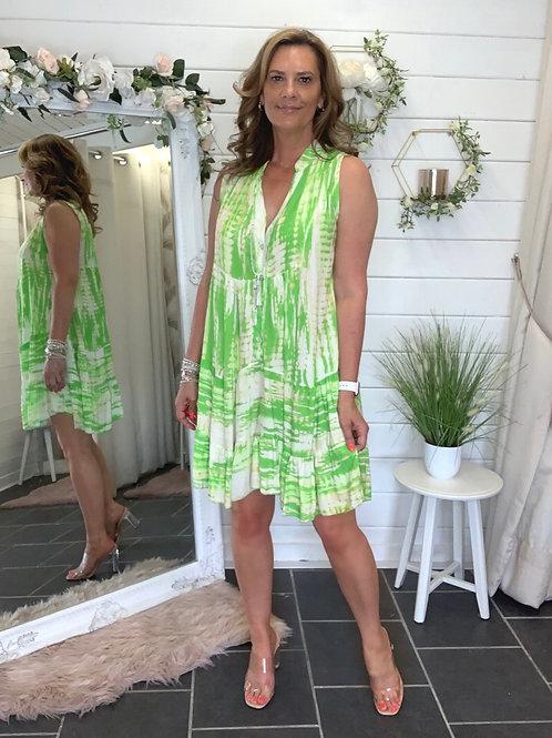 Lime /white Tye dye dress