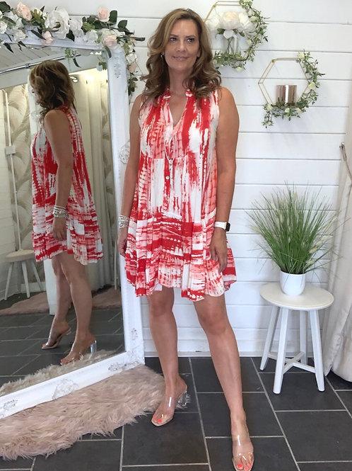 Red/white Tye dye dress
