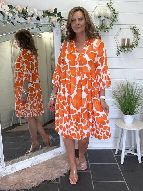 Orange giraffe print dress