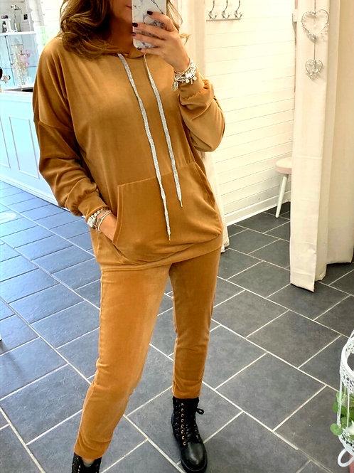 camel velour hoodie