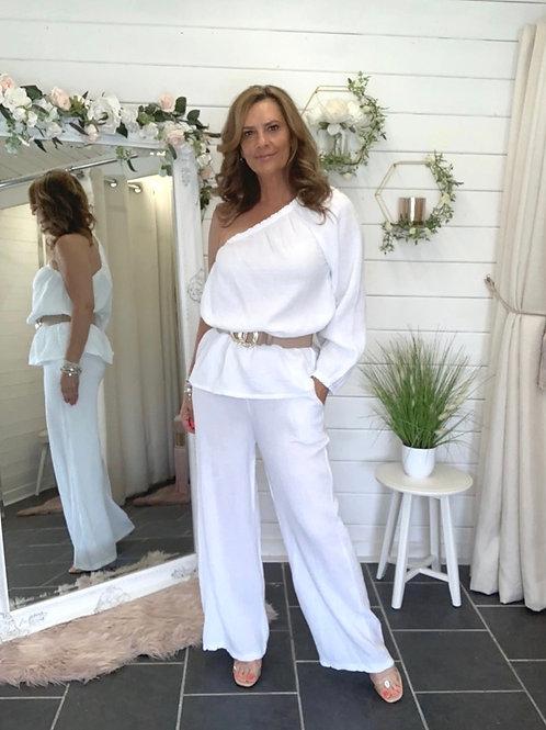 White wide leg seersucker trouser