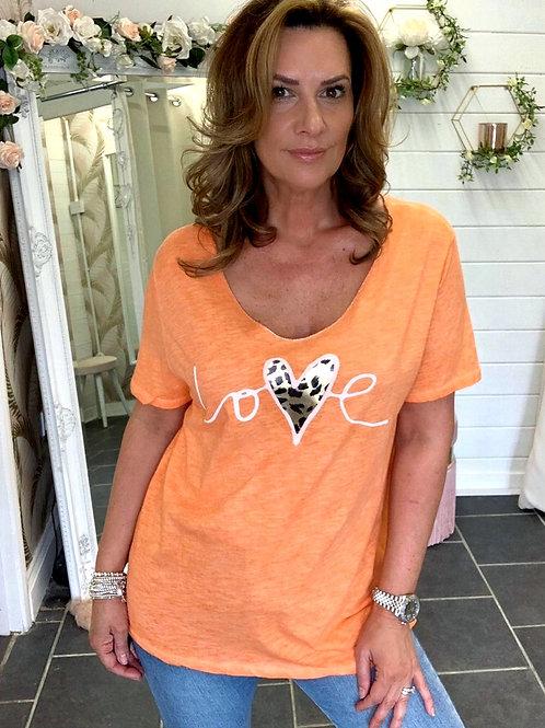 Orange love T-shirt