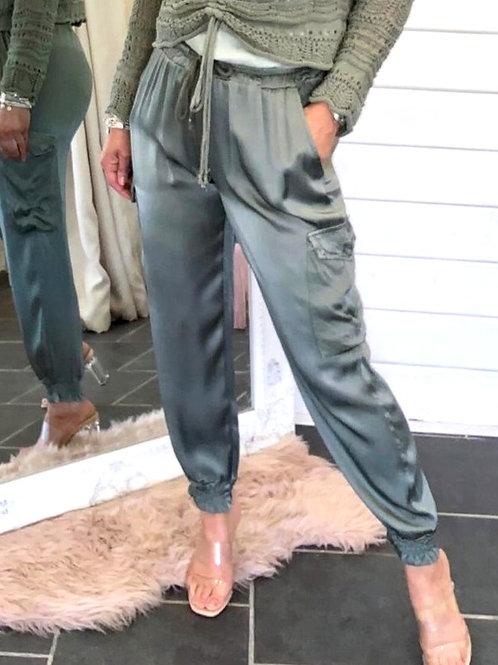 Khaki silk jogger