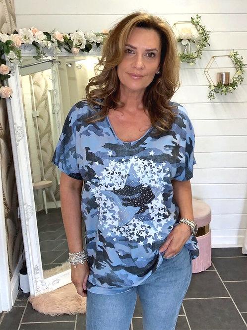 Blue camo star T-shirt