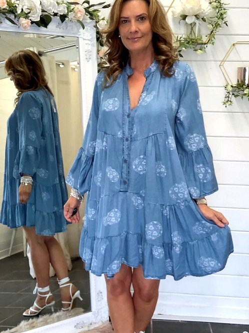 Denim skull swing dress