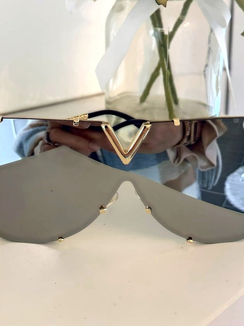 Mirrored V Glasses with gold hardware
