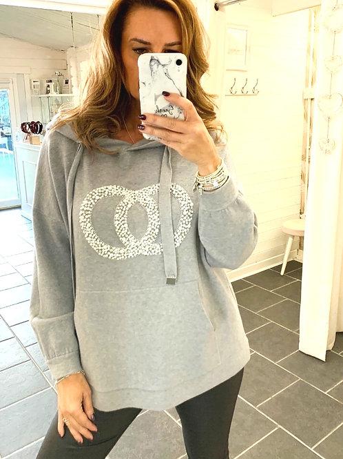grey knitted logo hoodie