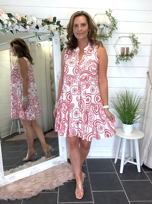 Red / white printed dress