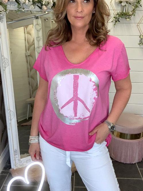 fushia pink peace t-shirt