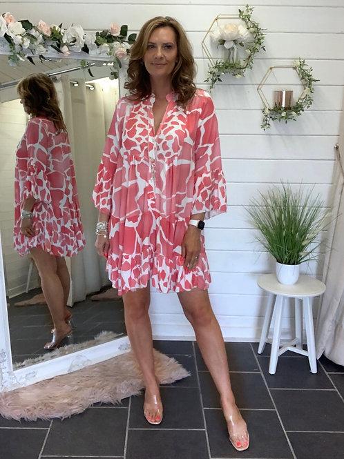 Light coral giraffe print dress