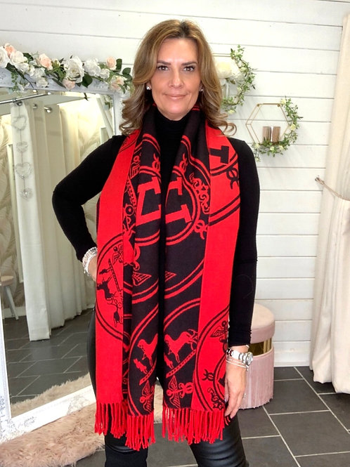 RED & BLACK SCARF