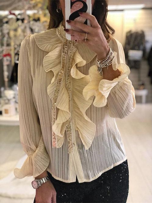 Cream Frill Shirt with Diamante tie